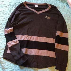 PINK long sleeve v neck T-shirt